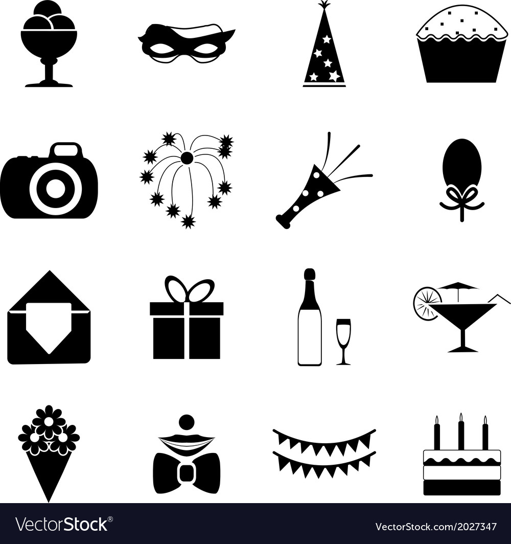 Birthday Party Celebrate Isolated Silhouette Icons