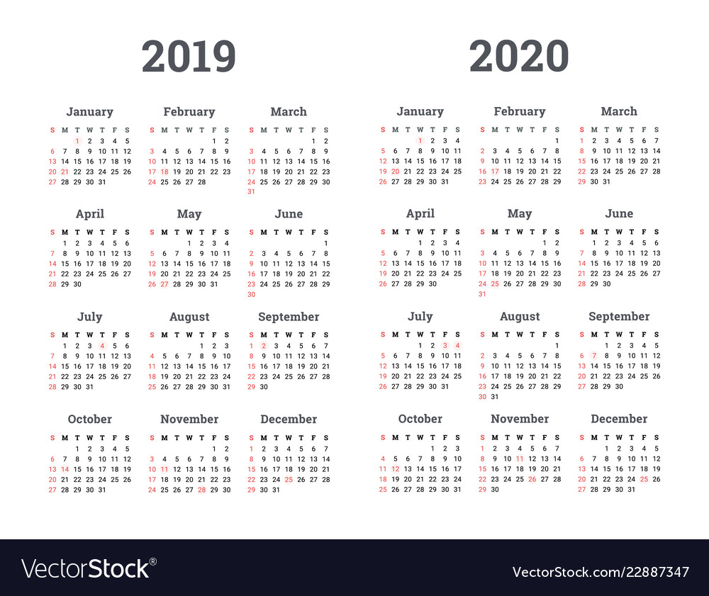 Calendar 2019 2020 Year Royalty Free Vector Image
