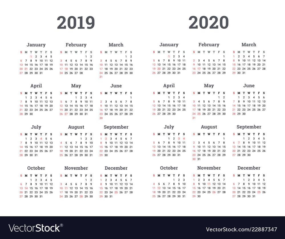 Calendar 2019 2020 Year