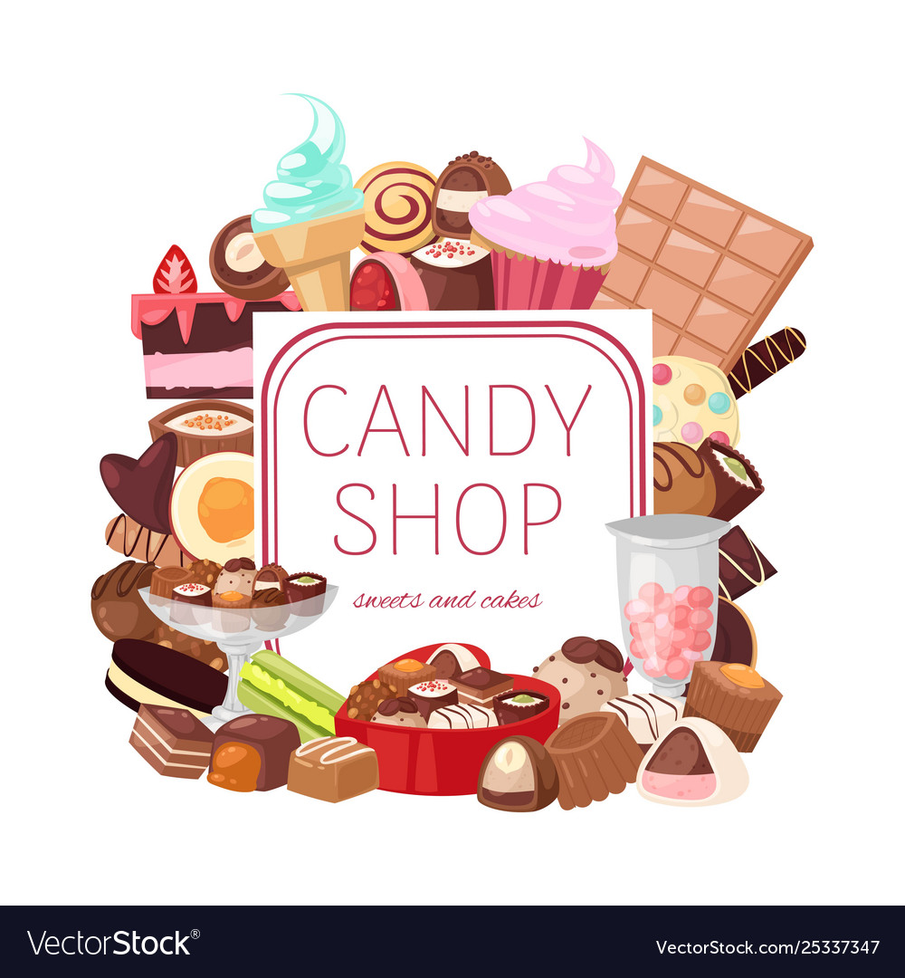 Candy shop banner bakery and