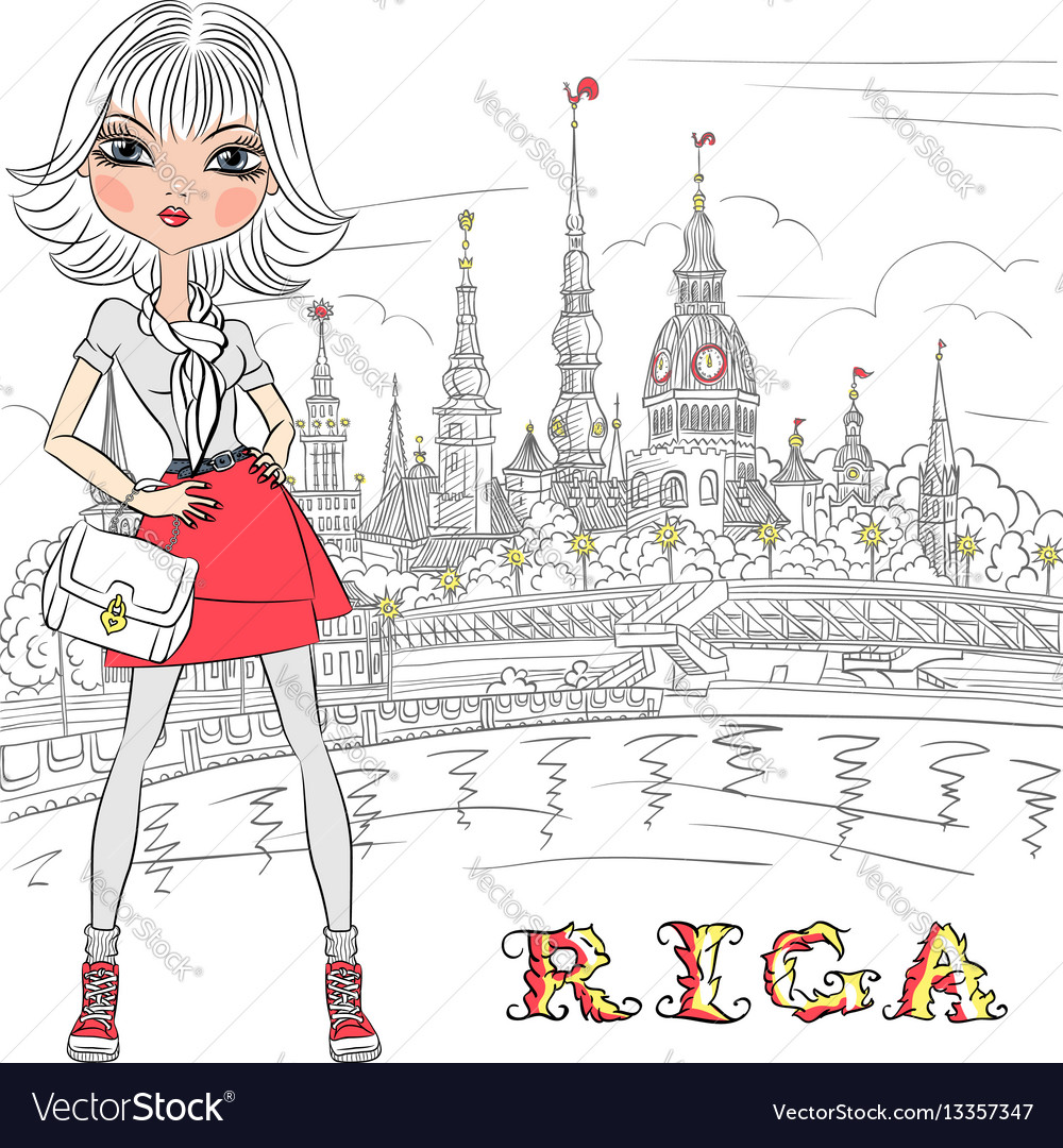 Cute girl in riga latvia vector image