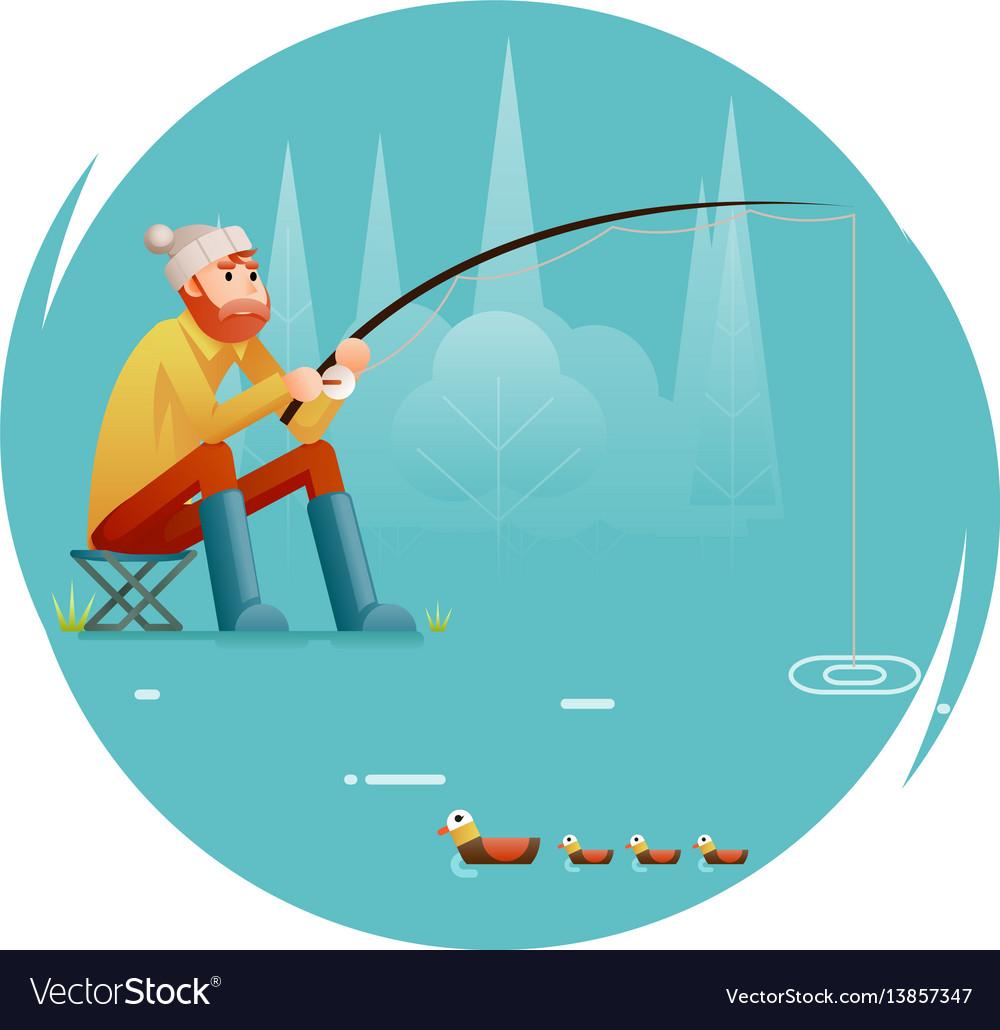 Fishing adult fisherman with fishing rod birds