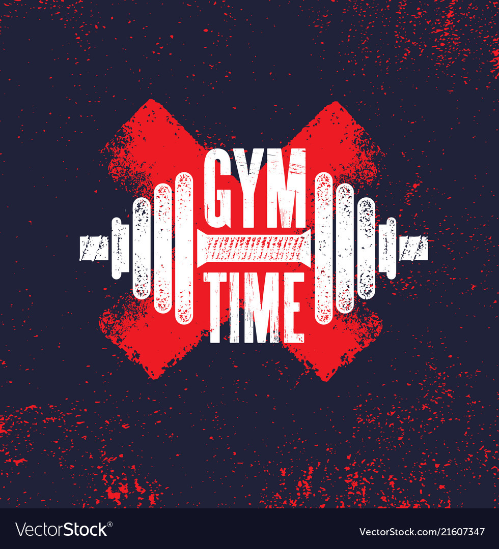 Gym Time Fitness Gym Muscle Workout Motivation Vector Image