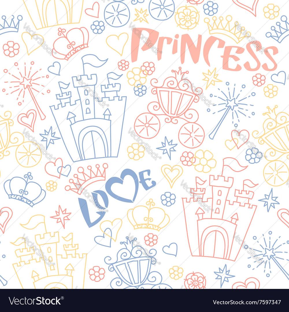 Hand drawn seamless princess pattern