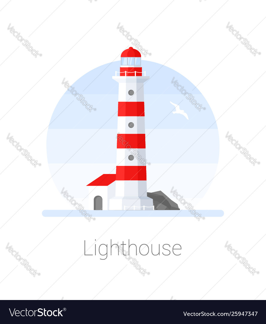Lighthouse tower with seagull