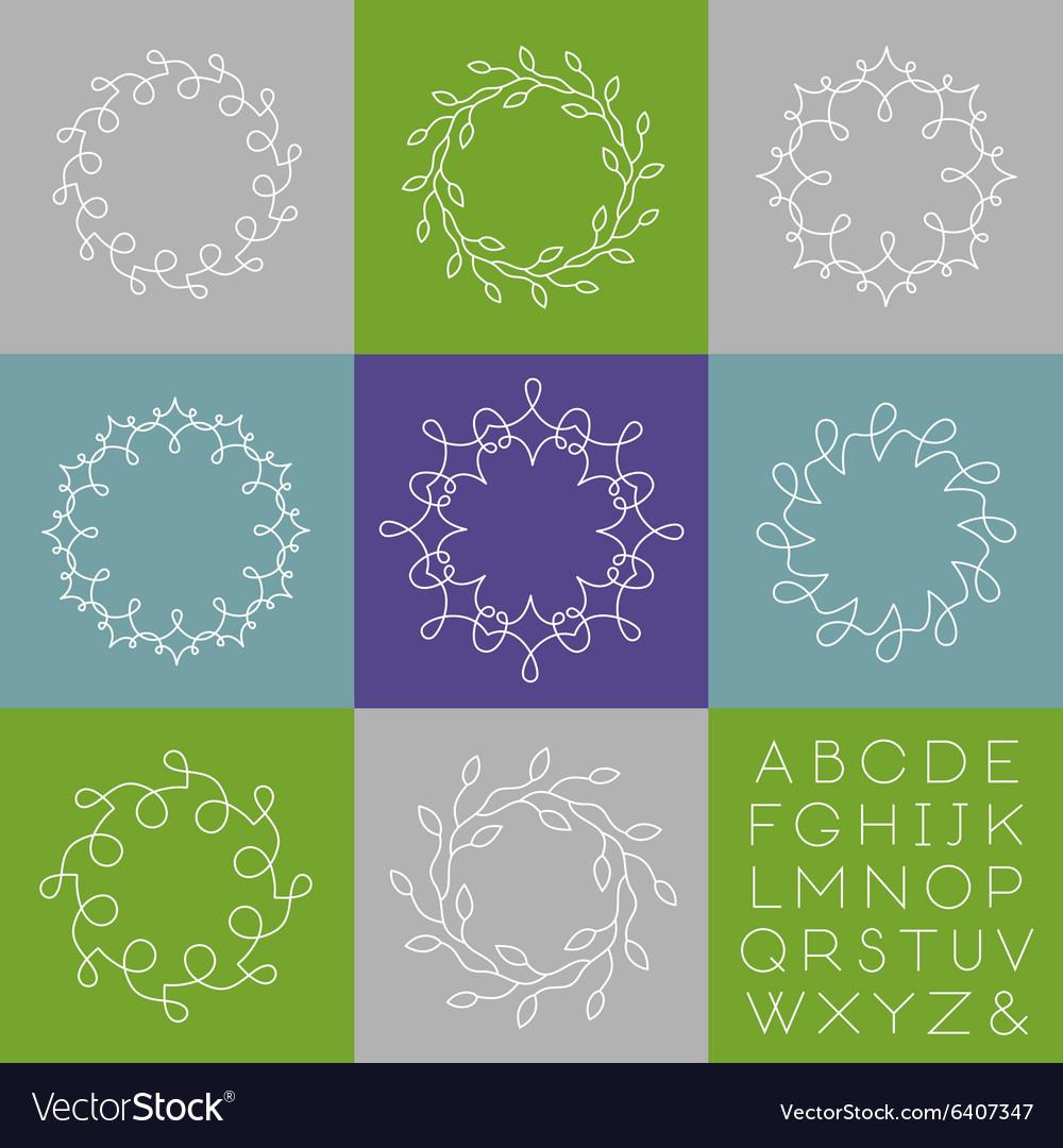 Line art monograms vector image