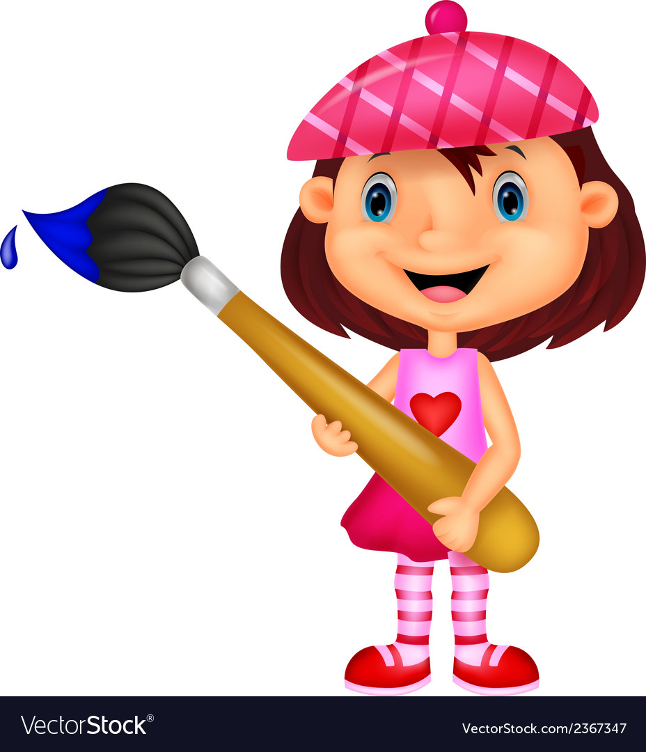 Little girl cartoon is painting with paintbrush