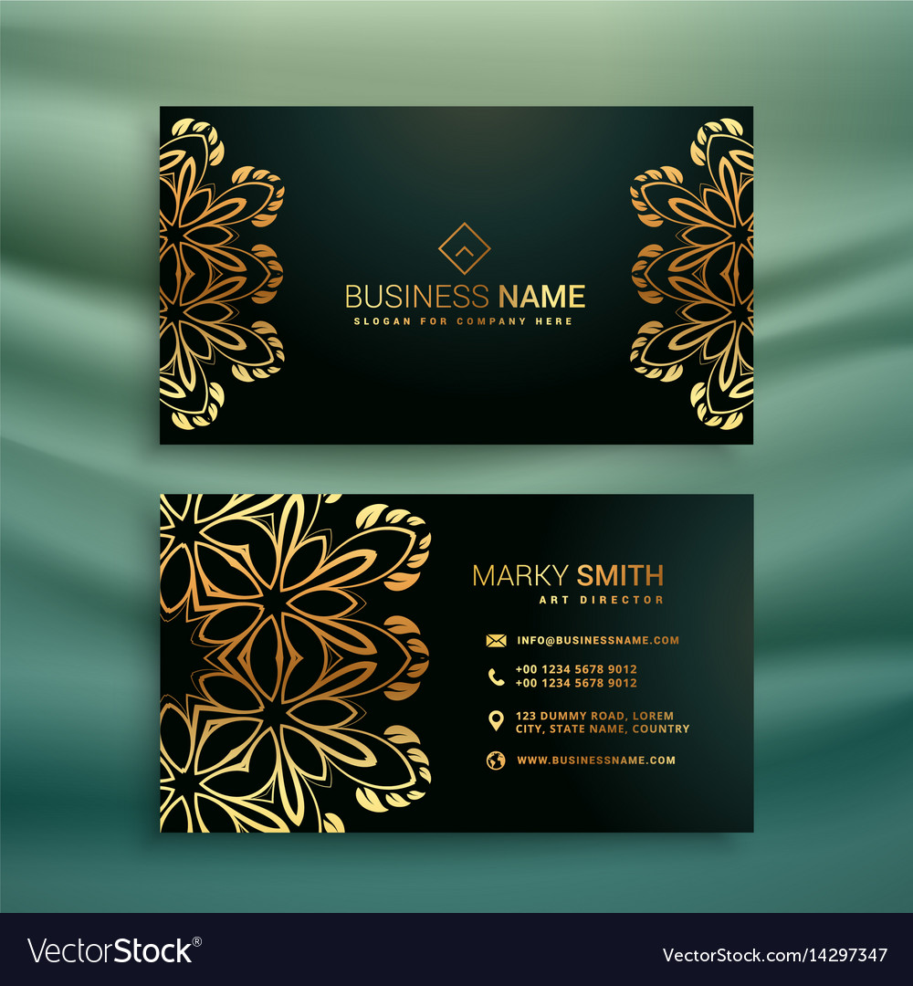 Premium business card with golden floral design Vector Image