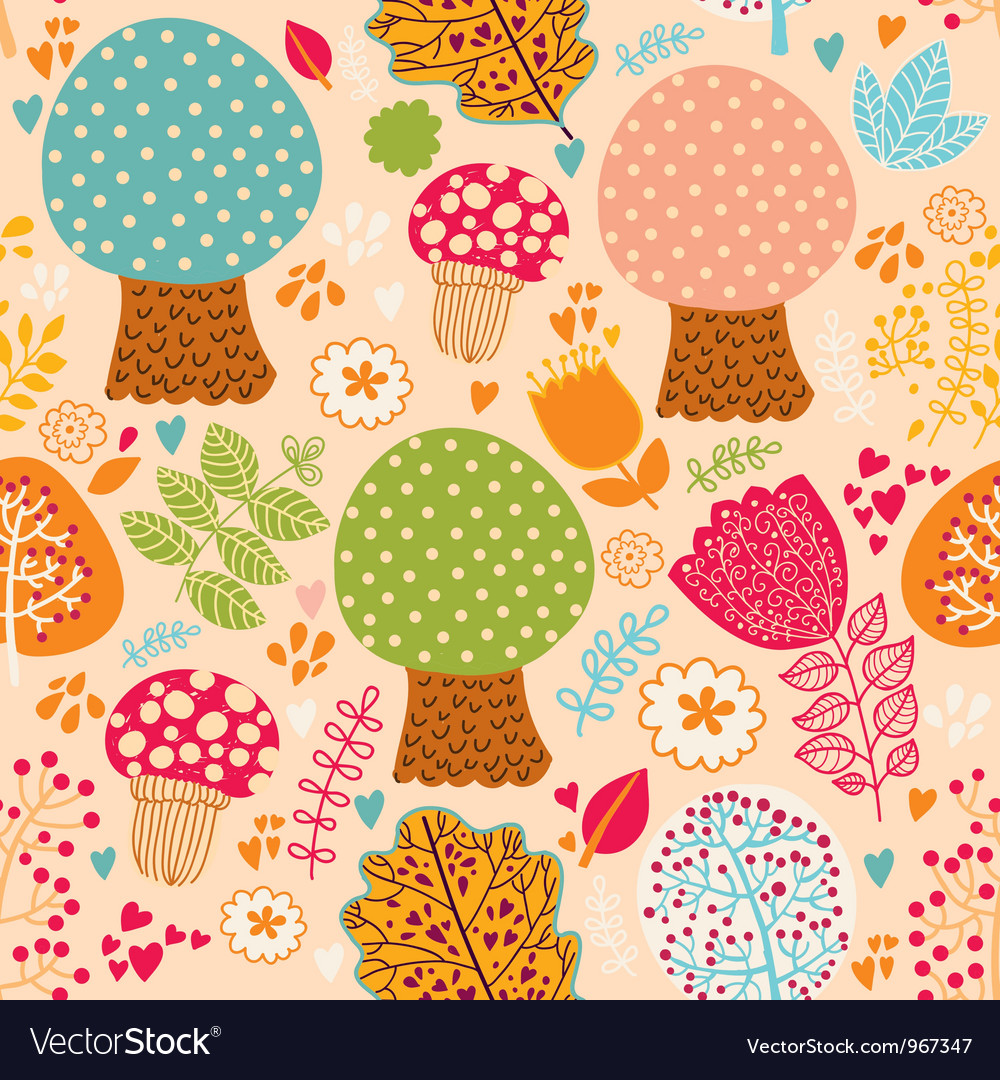 Seamless cute trees pattern