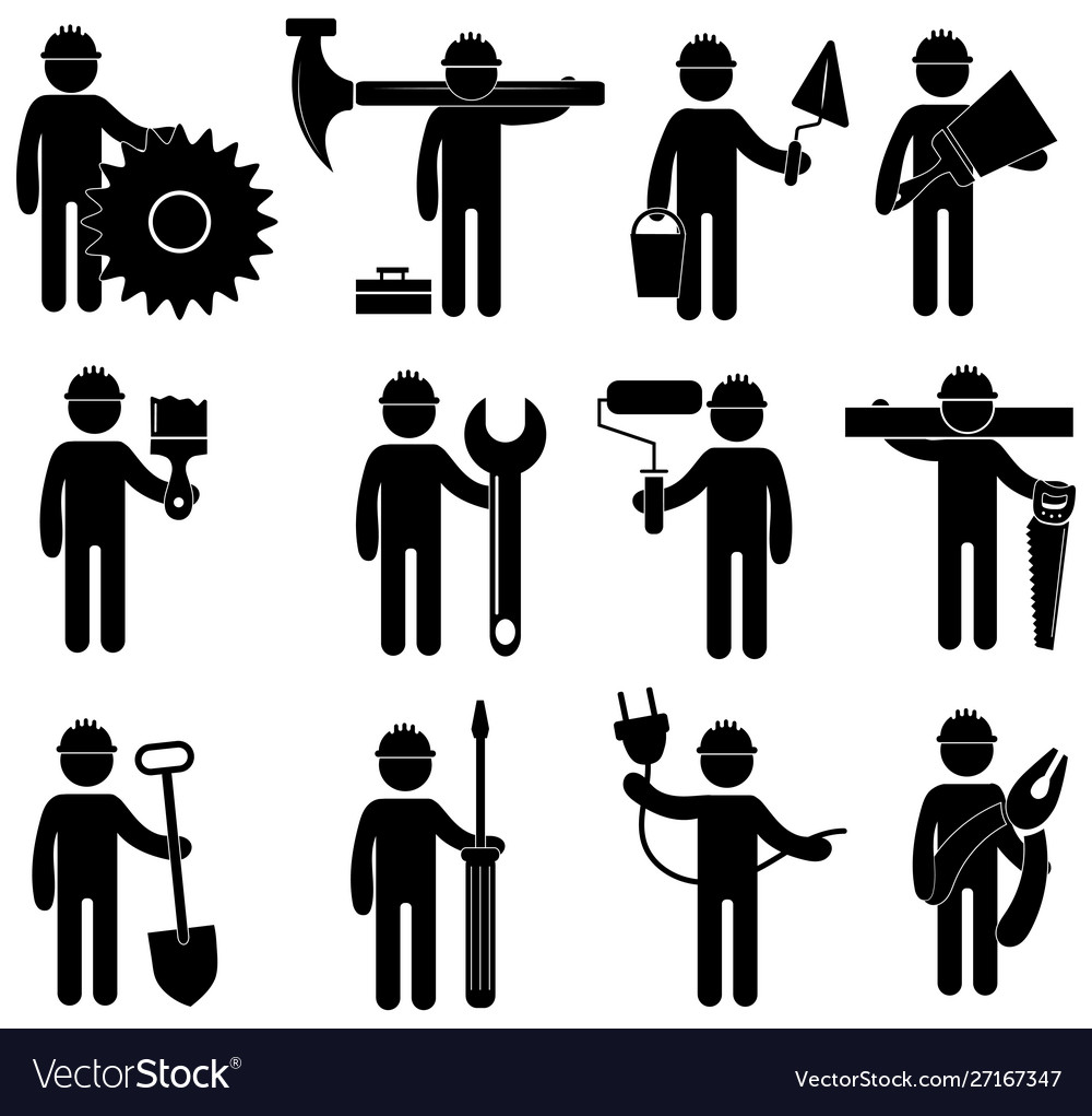 Set construction professions icons collection