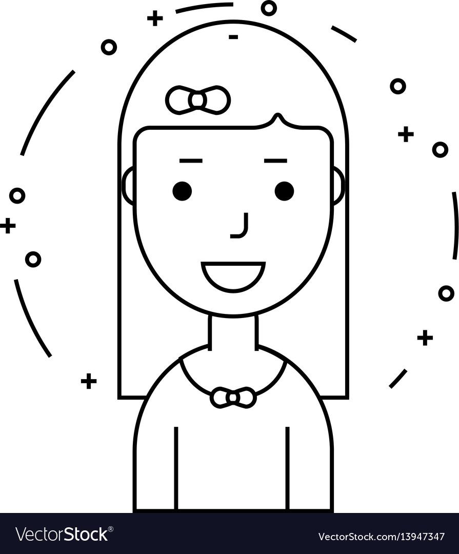Smiling girl character minimalism cartoon flat