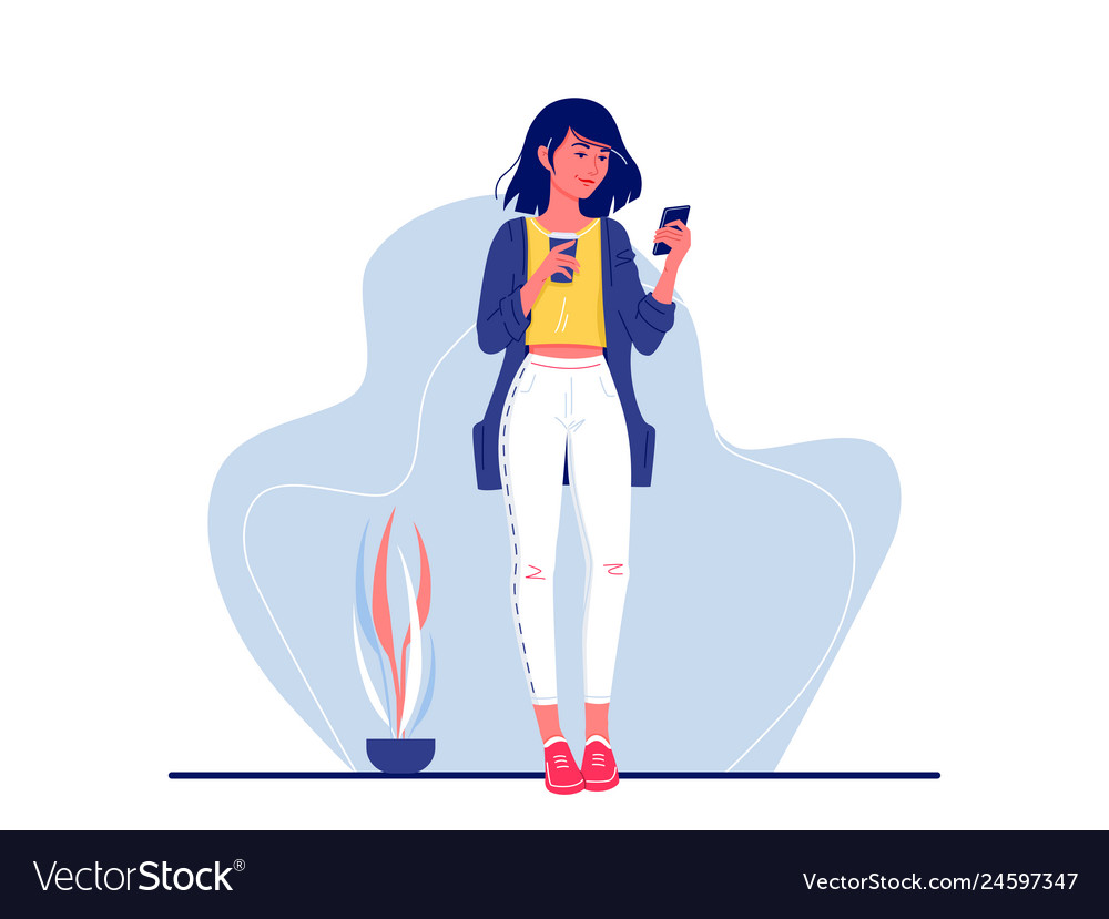 Social networks young happy woman standing
