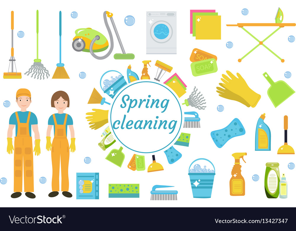 spring cleaning icons flat style housekeeping vector image