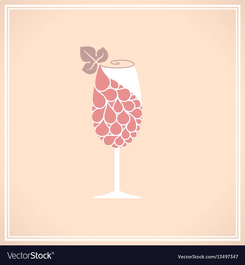 Wine glass with grape
