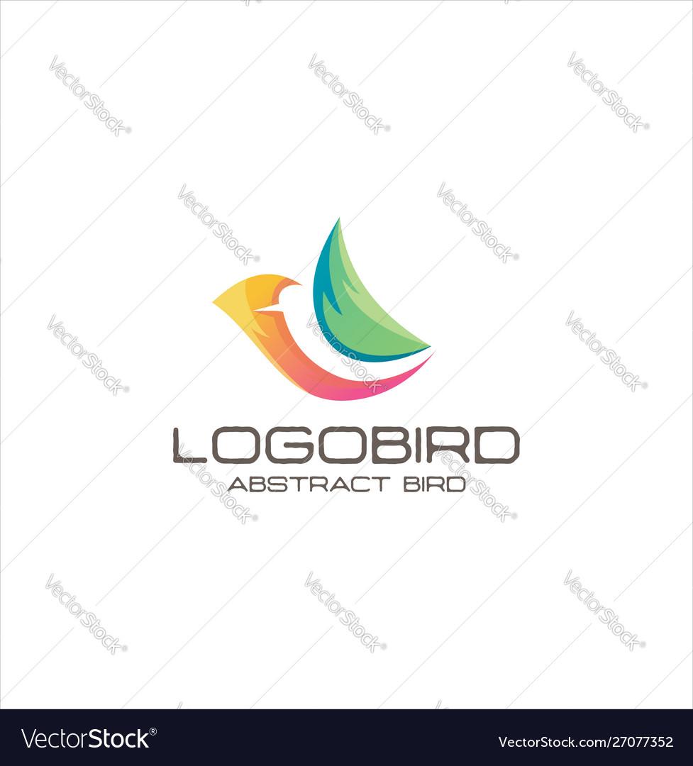 Abstract bird logo design creative sign colorful vector image