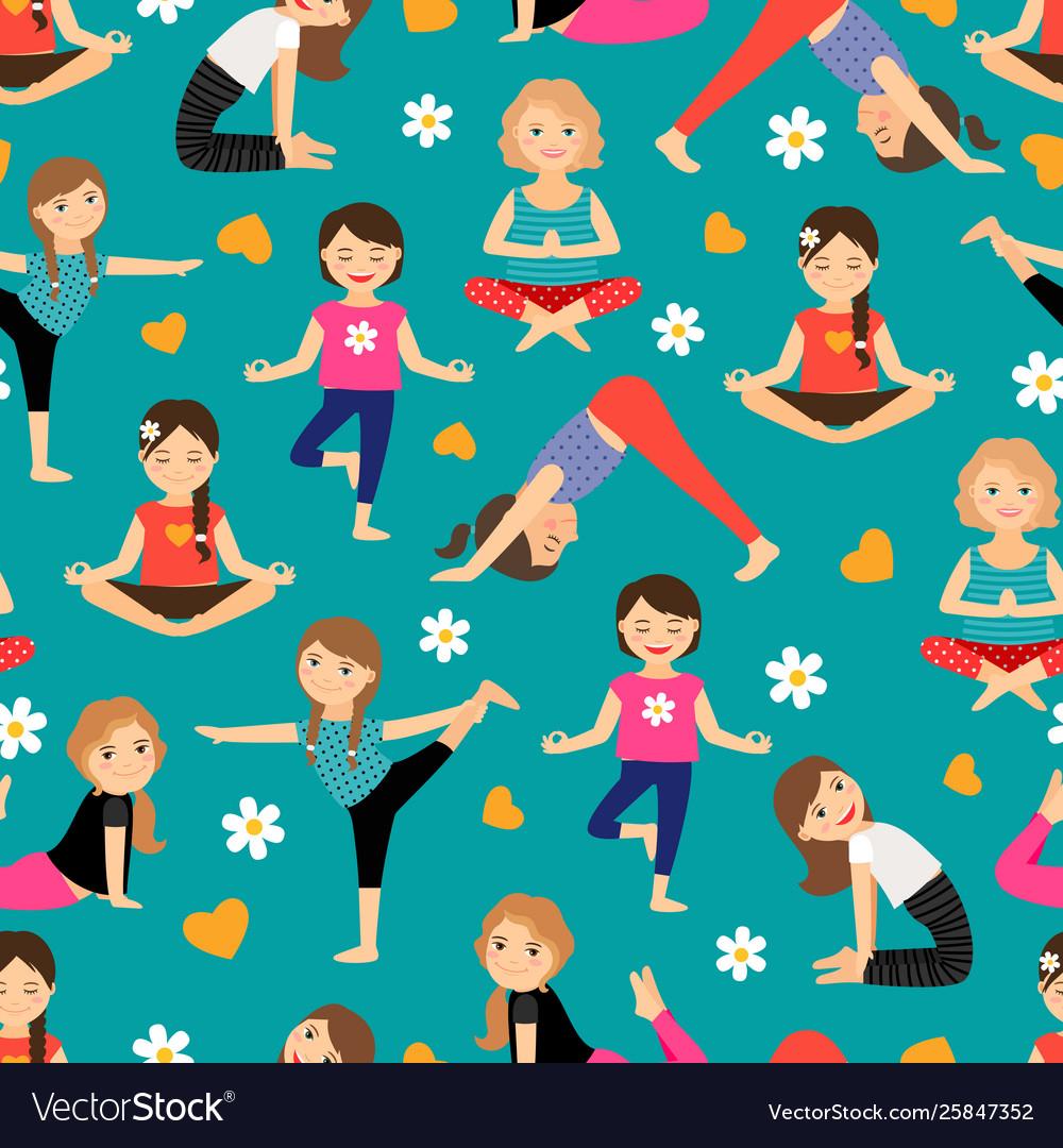 Cartoon girls yoga seamless pattern