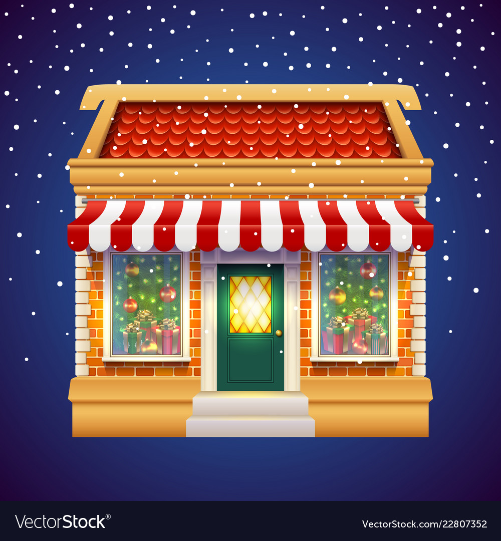 Christmas gift presents shop store holiday market Vector Image