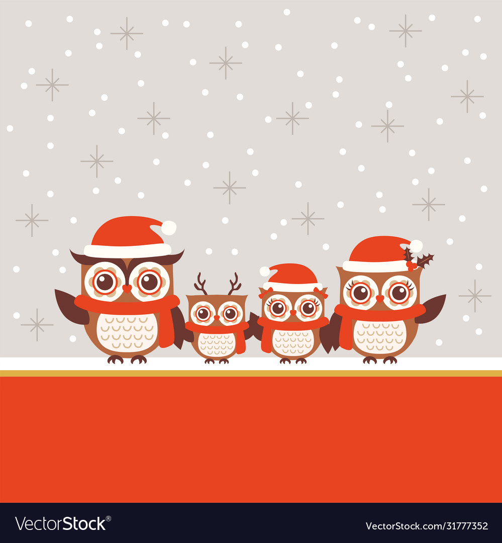 Christmas greeting design with cute owl family