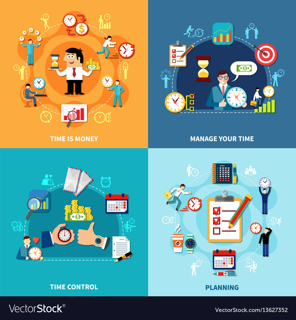 Daily planning compositions set vector image