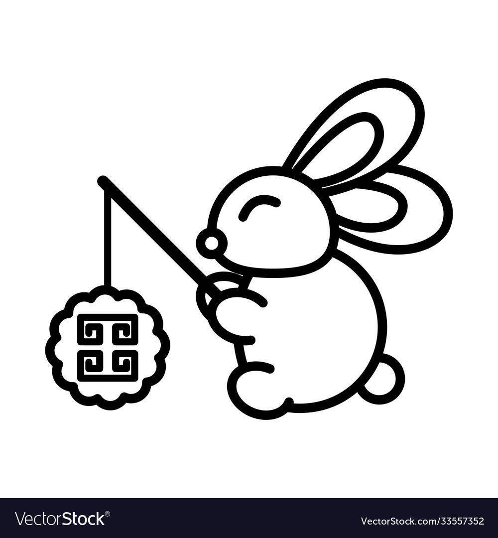 Happy mid autumn festival cute rabbit