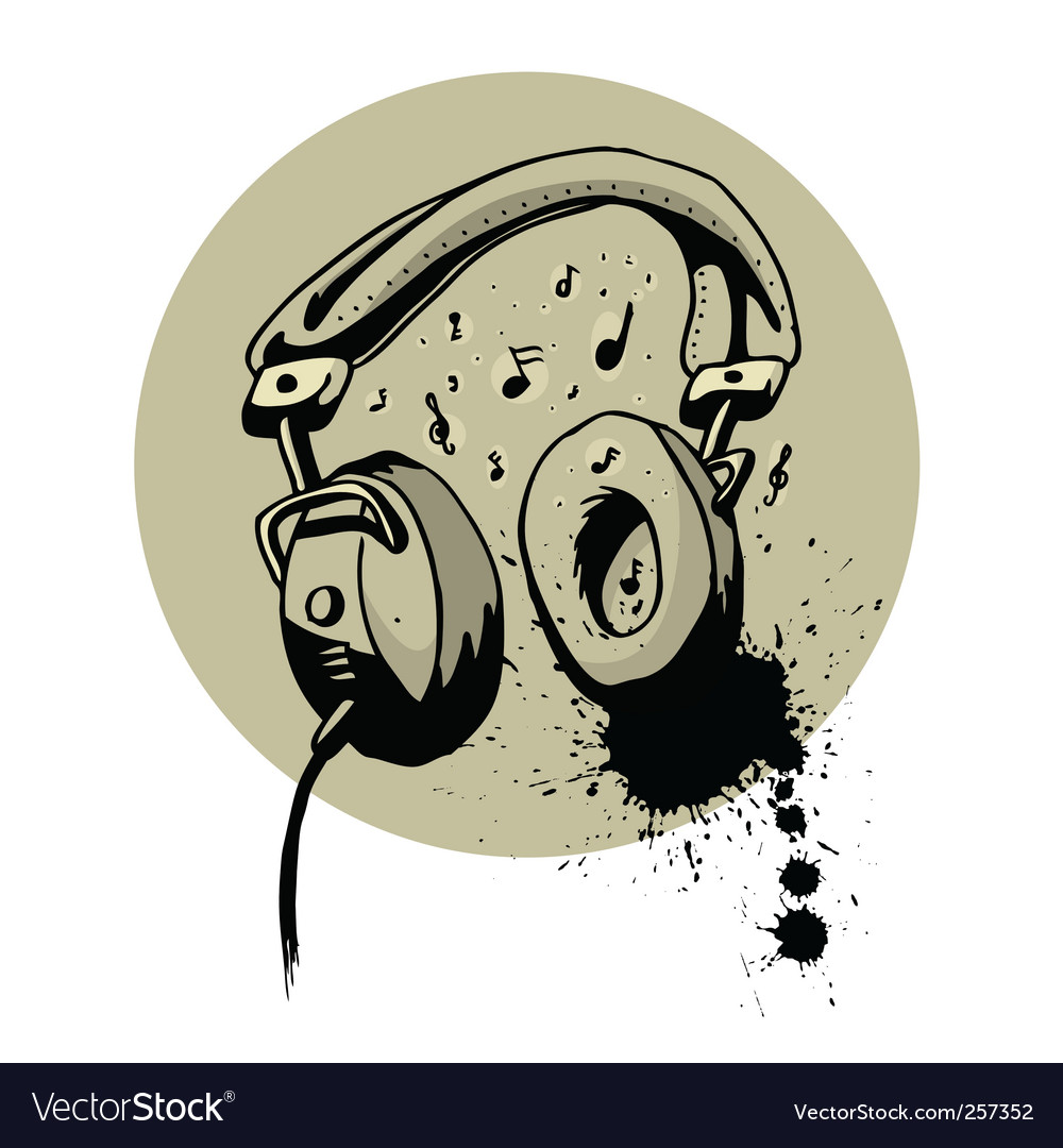 Headphone drawing vector image