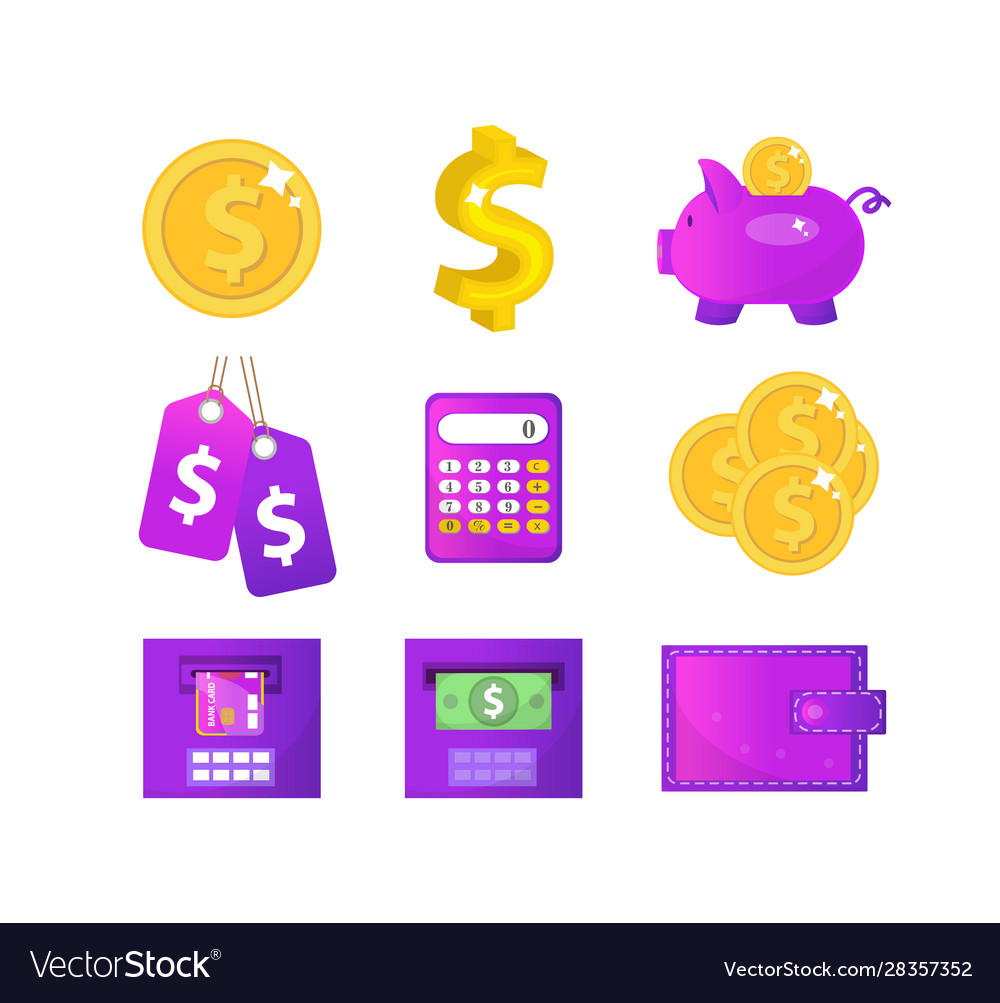 Money and finance icons modern flat style