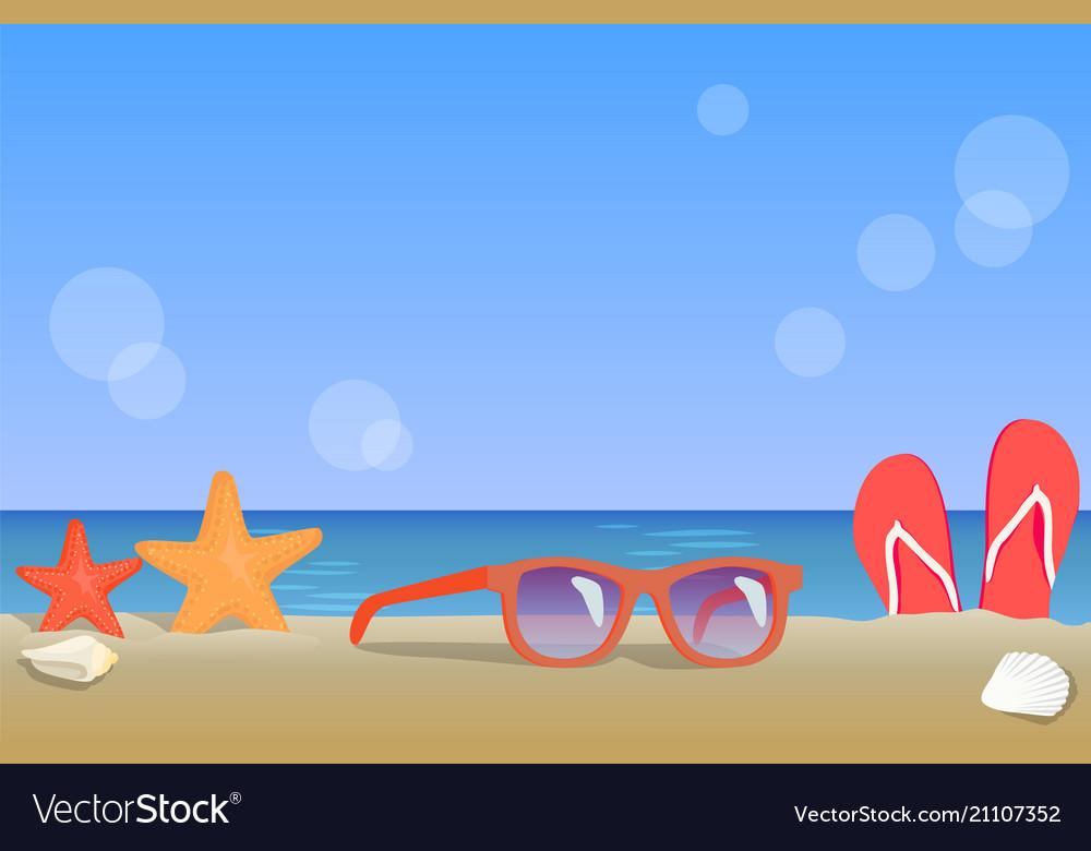 Ocean coast view summer landscape colorful poster