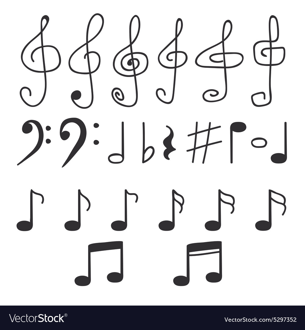 Set of hand drawn music notes