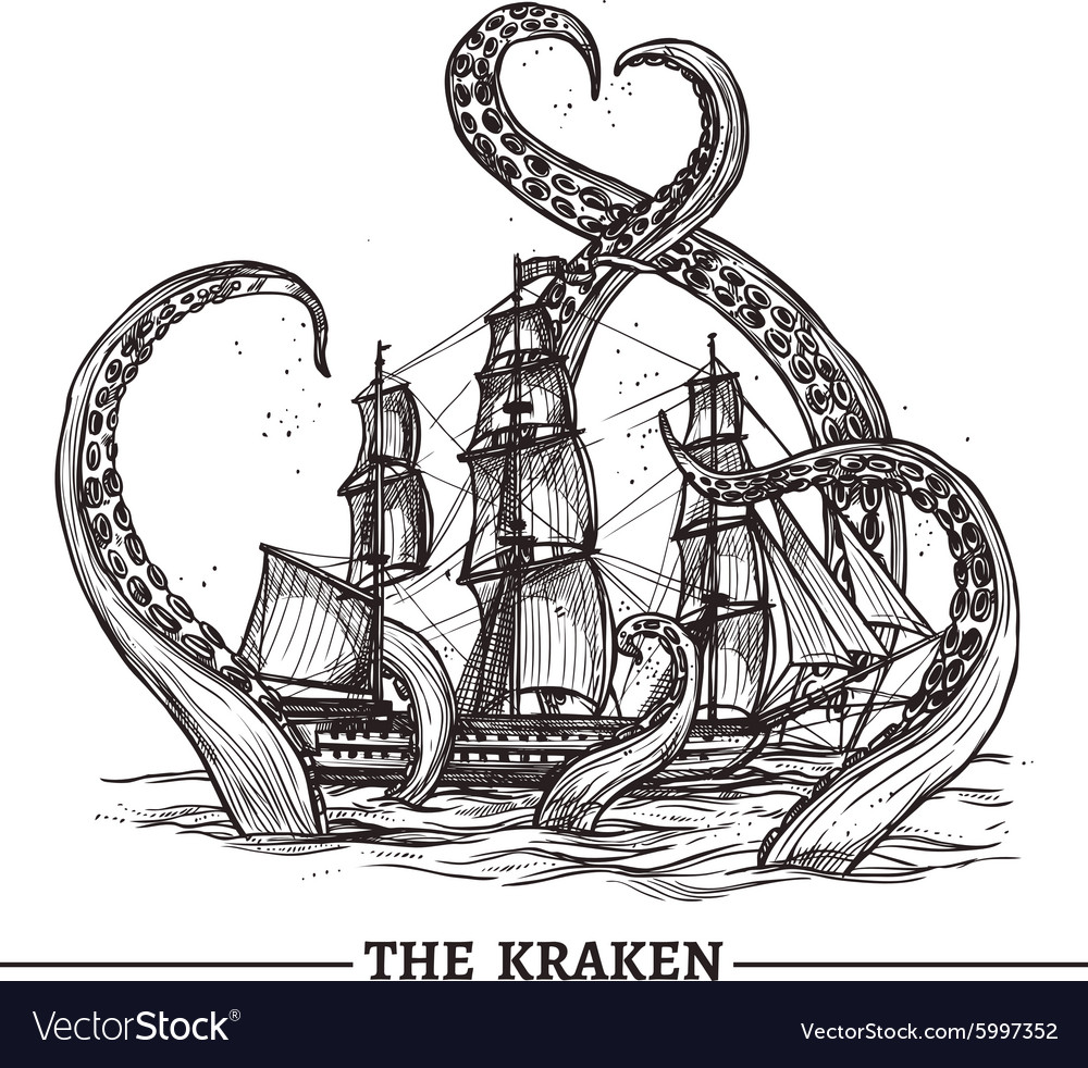 Ship And Octopus vector image