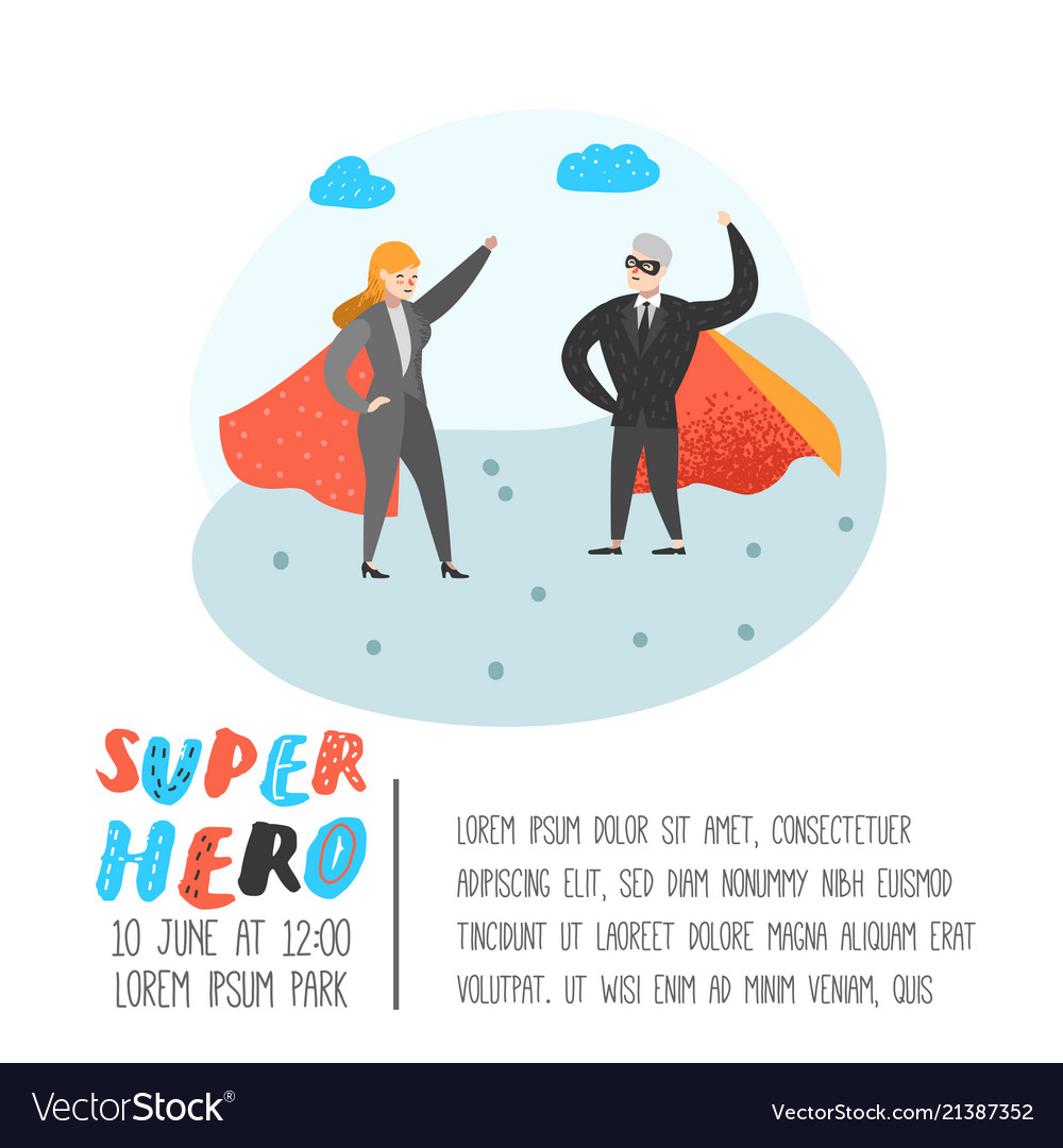 Superhero business people characters poster
