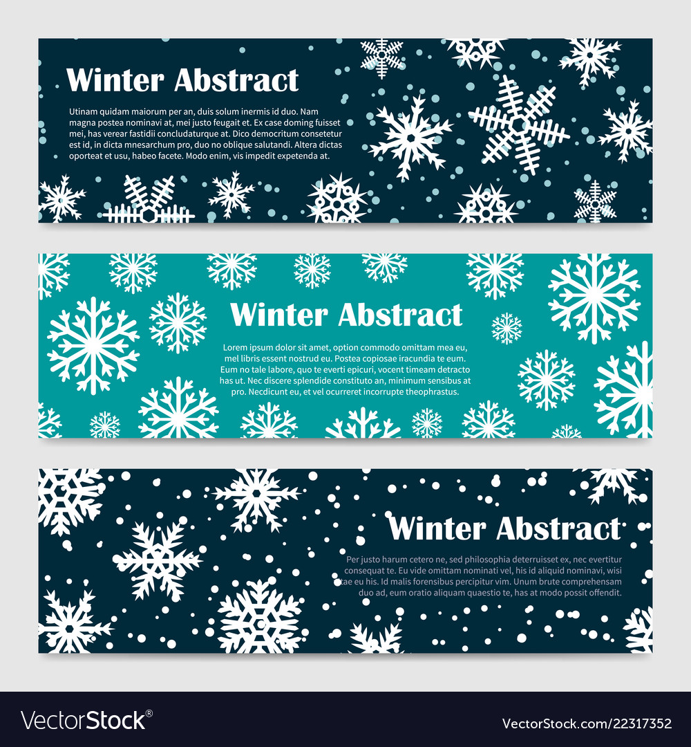 Winter banners templates with snowfall and