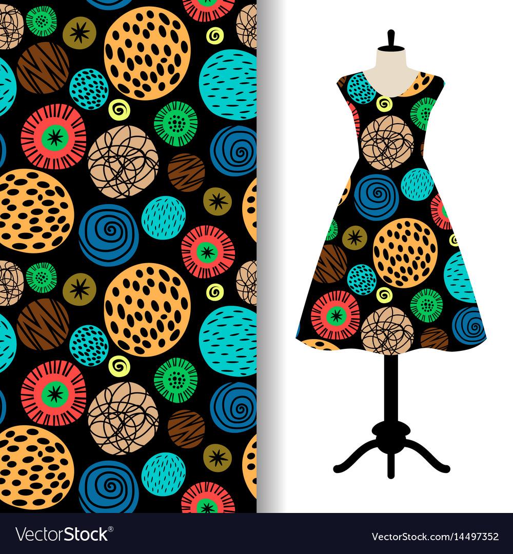 Womens dress fabric pattern with dots