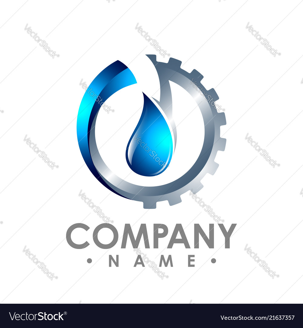 3d water and gear combined - white background