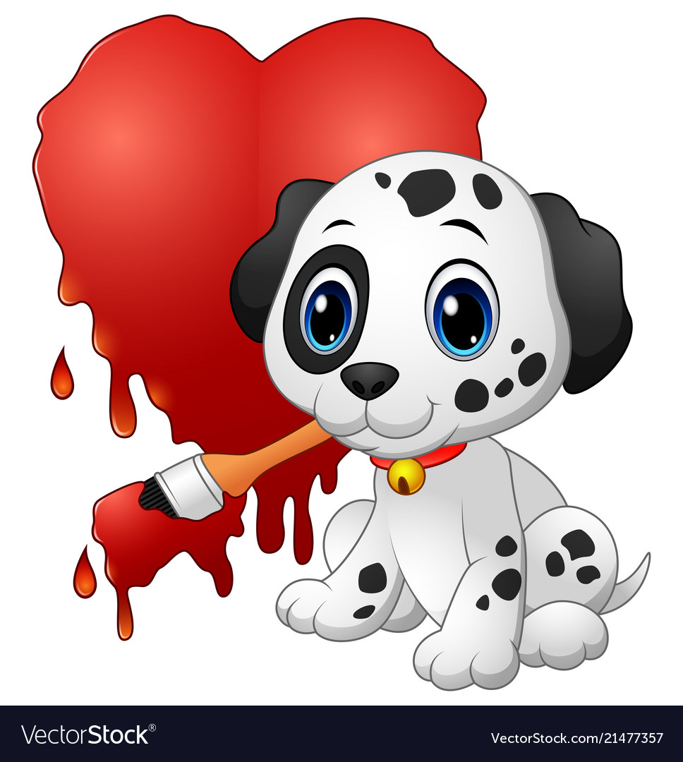 Cute Dog With Paintbrush Of Drawing A Heart Vector Image