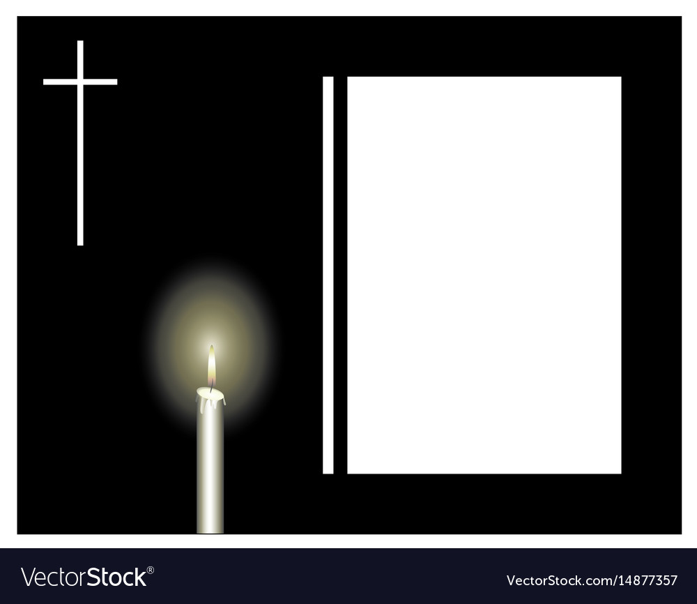 Attractive Funeral frame with a candle and a cross sad Vector Image DM02