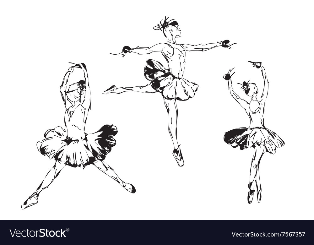 Hand drawn Ballerina dance in tutu