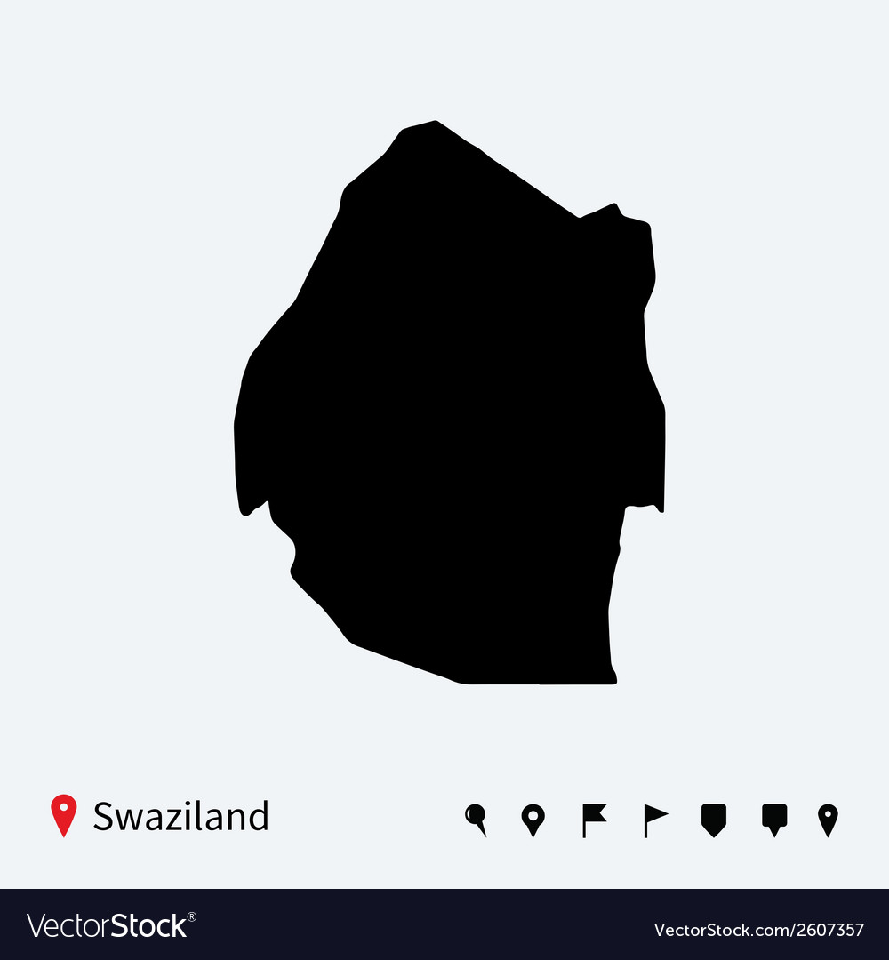 High detailed map of Swaziland with navigation