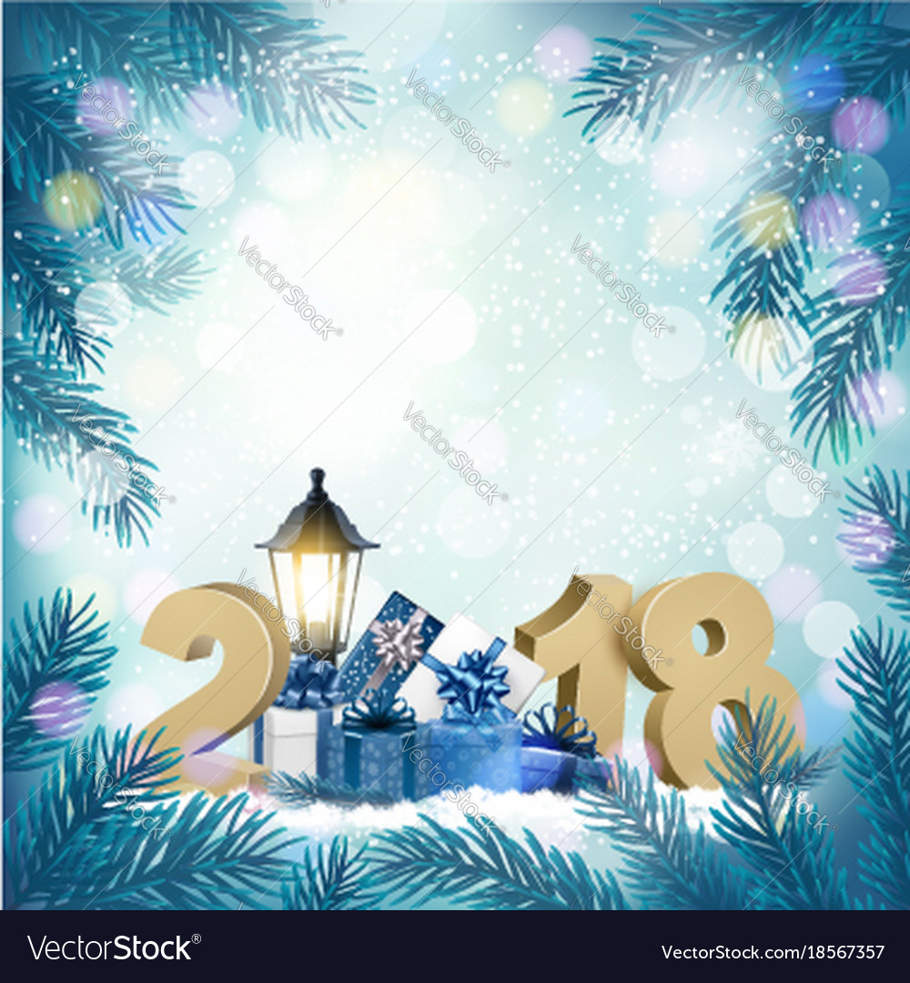 merry christmas background with 2018 and gift vector image - Merry Christmas Background