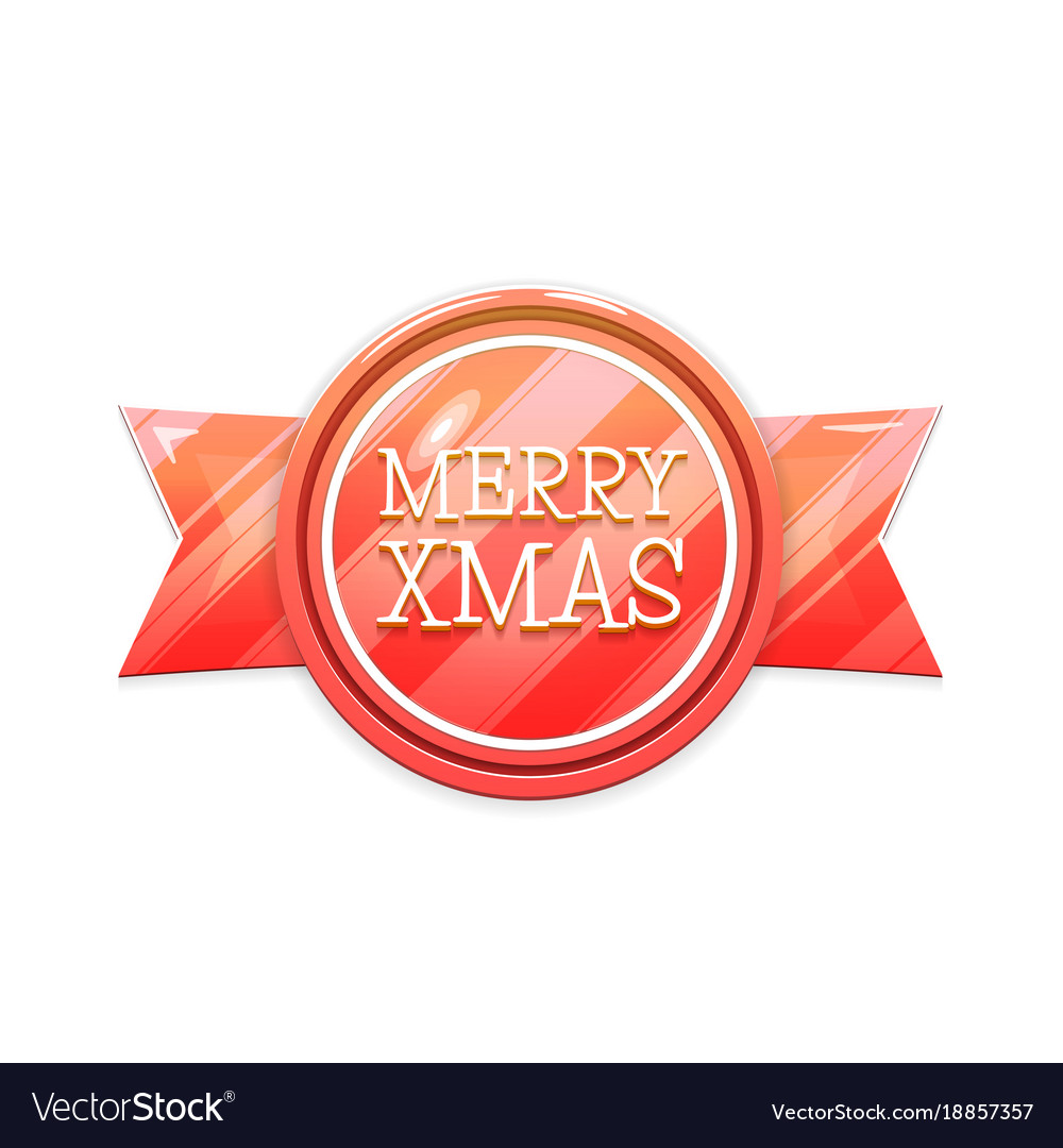 Merry xmas christmas banner badge isolated on