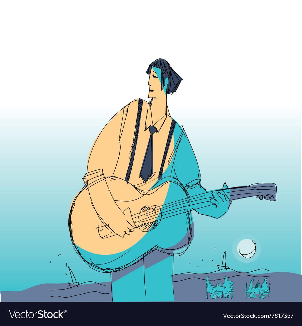Music man vith guitar vector image