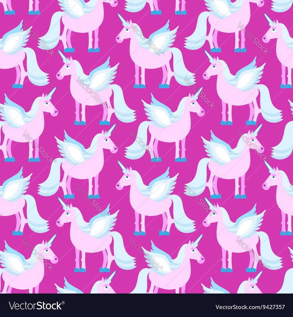 Pink Unicorn seamless pattern Fantastic animal on vector image