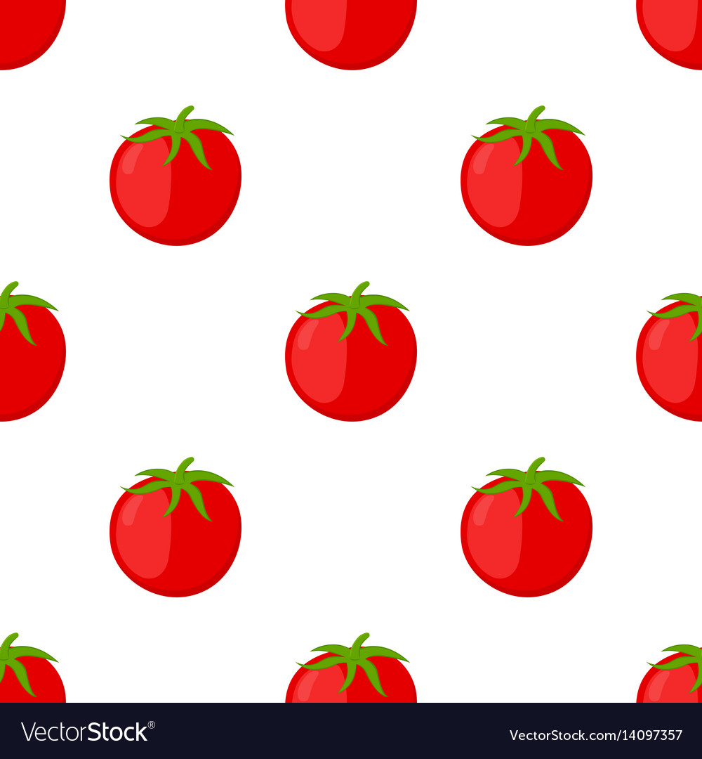 Red tomatoes seamless pattern cartoon flat style