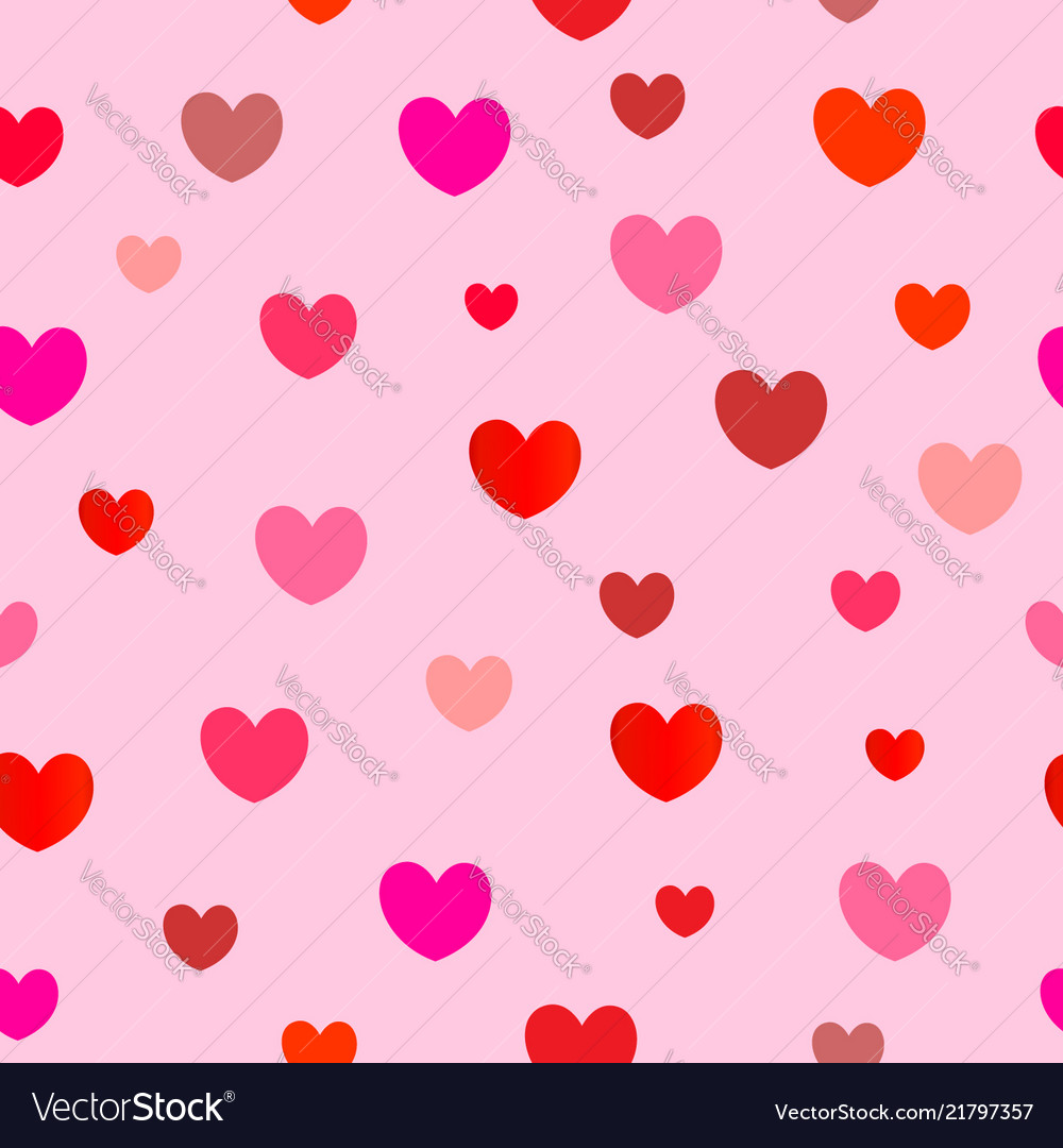 Seamless pattern of red hearts on pink