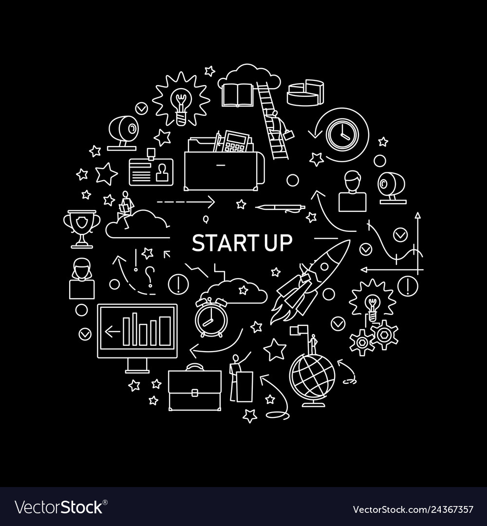 Start up concept with line icons on black
