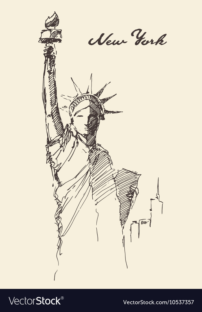 Statue Liberty drawn vintage sketch