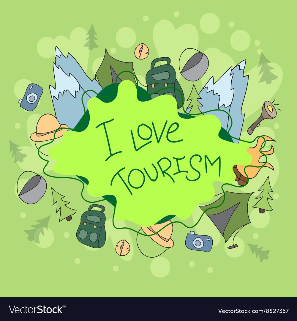 Summer camp - doodles elements vector image
