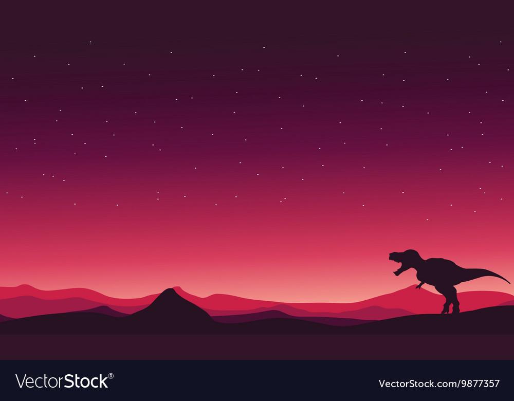 Tyranosaurus-Rex on hills landscape
