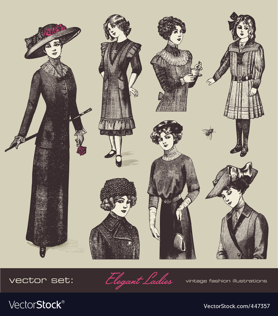 Vector set elegant ladies