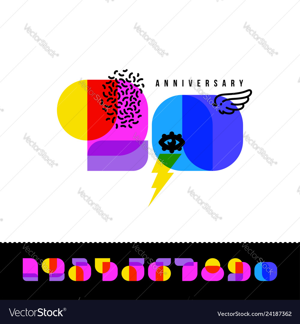 Anniversary card with colorful retro numbers