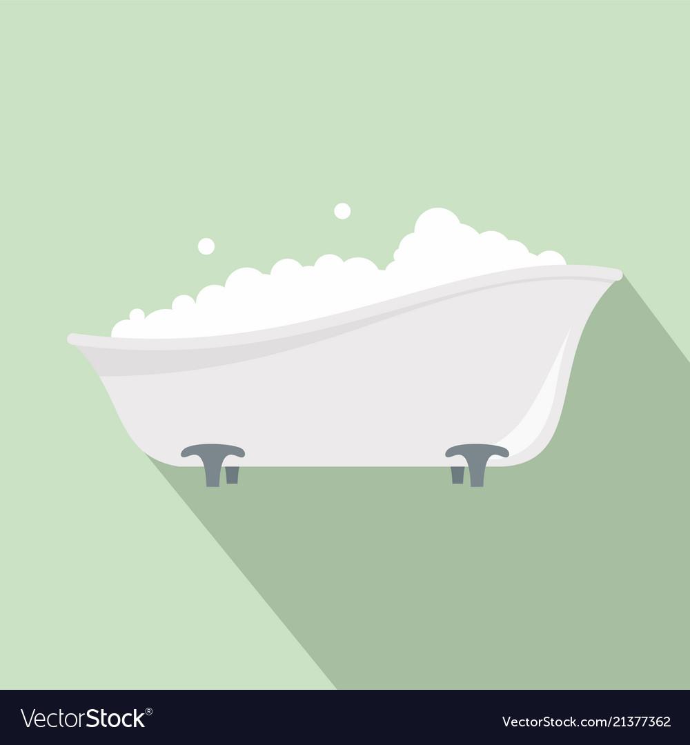 Bubblebath in bathtube icon flat style Royalty Free Vector